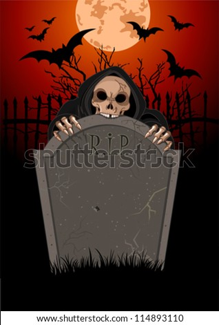 Halloween horrible Grim Reaper over  tomb stone