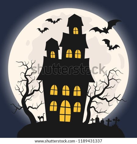 Halloween house on the background of the moon sky and cemetery. Vector illustration