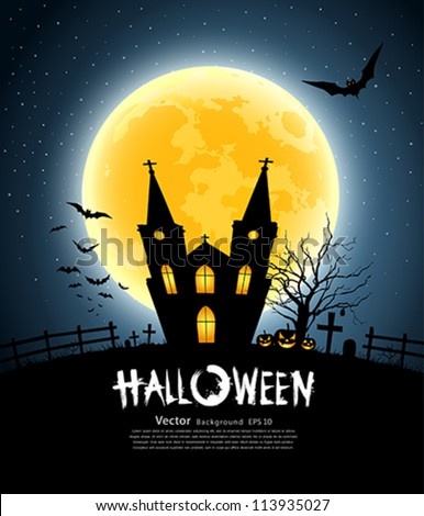 Halloween house party full moon, vector illustration