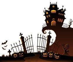 Halloween house silhouette theme 6 - eps10 vector illustration.