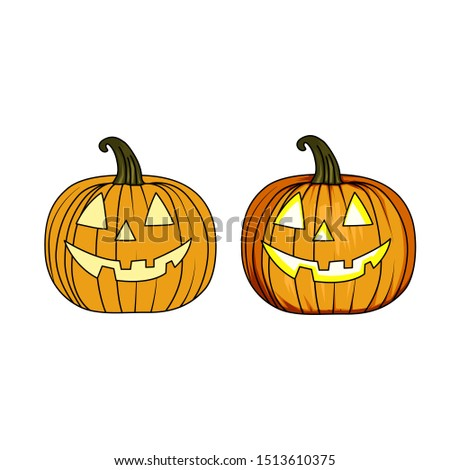 Halloween icon and character. Cute halloween pumpkins. Isolated on white background. Flat style, line style and silhouette style vector illustration
