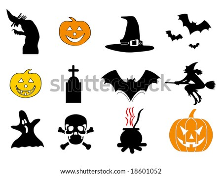 halloween icon pack 1/2 - with bat, pumpkin, witch, ghost, hat