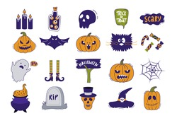 Halloween icon set. Hand-drawn vector illustration with pumpkins, tombstone, skull, ghost, bat, hat, cat and etc.  It can be used for halloween party, posters, greeting cards, fashion design.