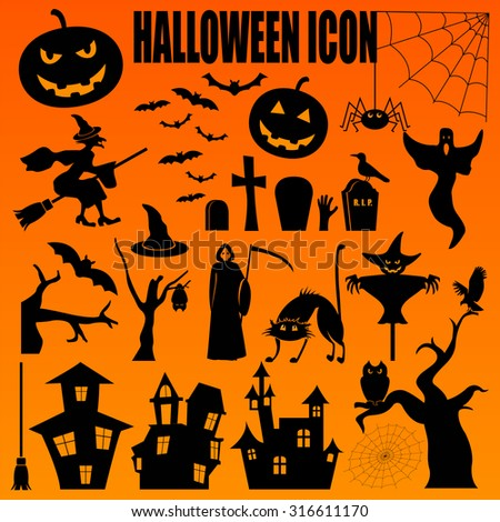 Halloween icon set. Holiday design. Vector illustration.