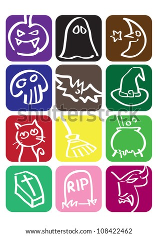 Halloween icon set in different colors - stock vector