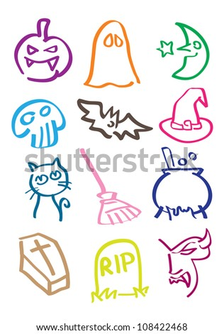Halloween icon set in different colors