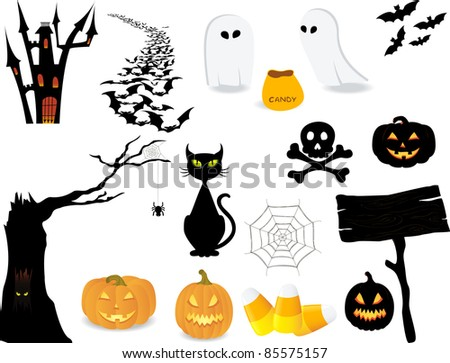Halloween icon set to make your own design.