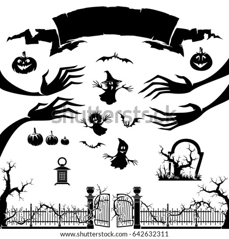 Halloween icon. Silhouette of monster ,  pumpkin,ghost.Halloween backgrund symbol and element.