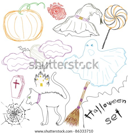 Halloween Icons A collection of fun Halloween icons. Sketch drawing. Vector illustration