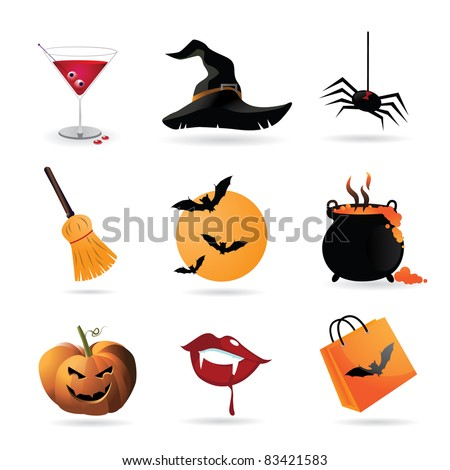 Halloween Icons A collection of nine fun Halloween icons. Grouped for easy editing. Vector file.