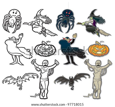 Halloween Icons A set of vector icons on a spooky Halloween theme, fully editable layers included