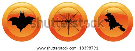 Halloween icons 1 (bat, web, witch). Vector illustration. You can find similar images in my gallery!