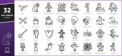 Halloween icons Pack. Thin line icons set. Flaticon collection set. Simple vector icons