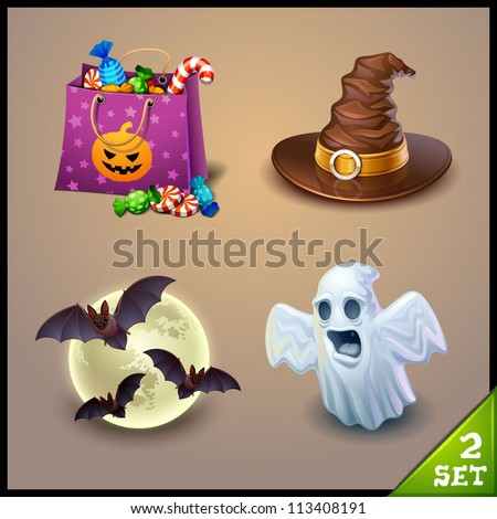 halloween icons-set 2 - stock vector
