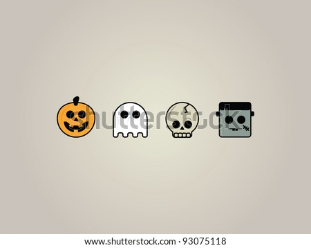 Halloween Icons. Set of four playful Halloween icons. Jack-o-lantern, Ghost, Skeleton and Frankenstein.