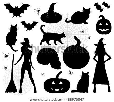 Halloween icons. Vector illustration, eps10. Halloween Silhouettes. Witch, pumpkin, black cat. Party.