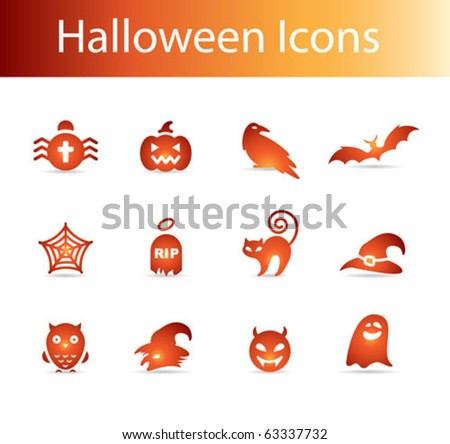 halloween icons vector - pumpkin, witch, bat, spider web, ghost, devil, cat, tomb, grave, magic hat