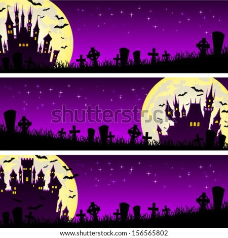 Halloween illustration banner with castle and bats on full moon background