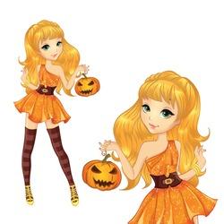 Halloween illustration. Beautiful blonde witch with pumpkin.