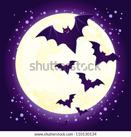 Halloween illustration: cute vector bat flying against full moon