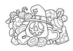 Halloween illustration doodle for antistress coloring for adults and kids