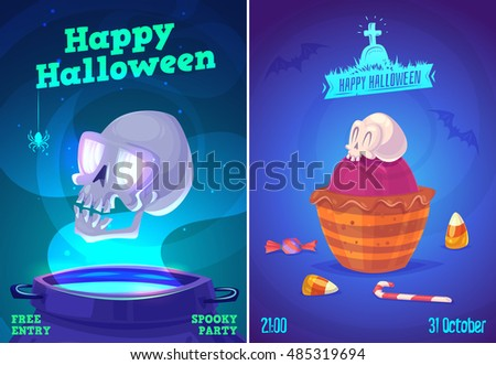 Halloween illustration glowing skull over pot and candy skull . Vector set of happy halloween vintage badges, logos emblems and labels. Halloween cardposter. Vector stock illustration.