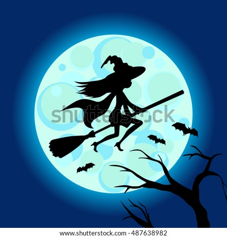 halloween illustration of mysterious night with full moon and flying witch