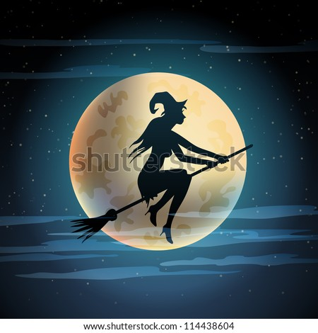 Halloween illustration of witch on broom and moon. eps10