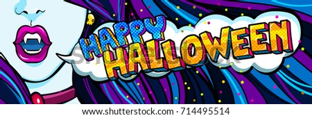 Halloween illustration. Open blue mouth with fangs and Halloween party message in pop art style. Vector illustration.