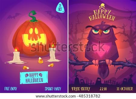 halloween illustration owl on a