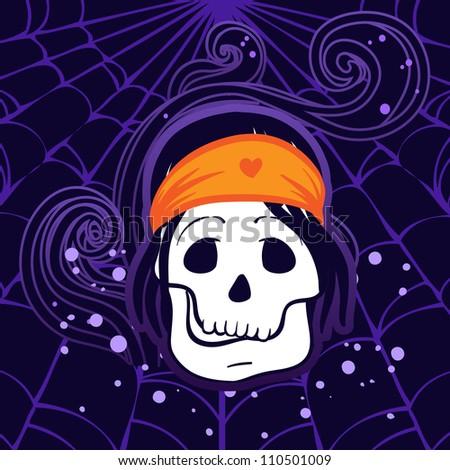 Halloween illustration: Pirate Skull Captain with Hat
