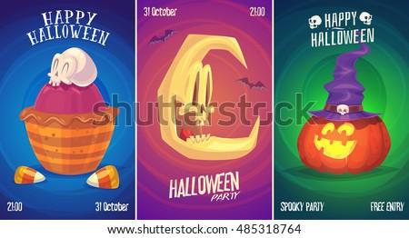 Halloween illustration witch skull moon. Vector set of happy halloween vintage badges, logos emblems and labels. Vector stock illustration.