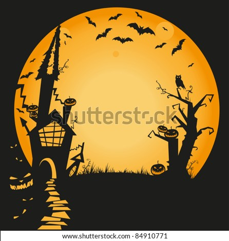 halloween illustration with haunted house, bats, owl and pumpkins