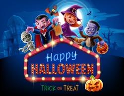 halloween illustration with kids