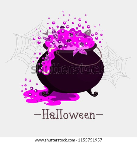 Stock Photo Halloween illustration with magic potion in a large cooking pot. Pink potion with mushrooms leaves and fish