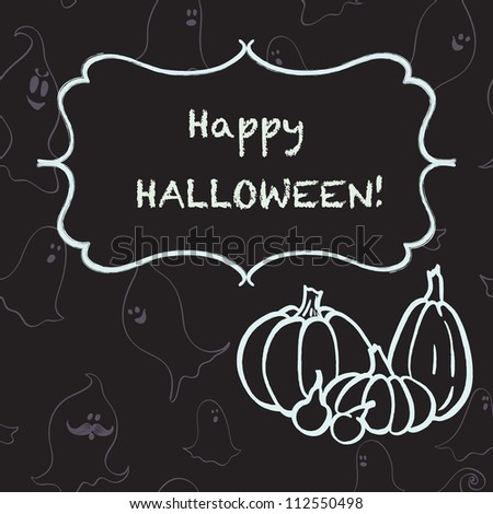 Halloween illustration with pumpkins, cartoon ghosts and figure frame for the text on the chalkboard background. Vector background.