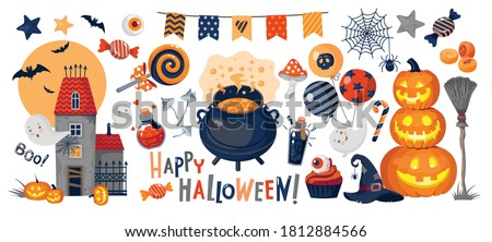 HALLOWEEN illustrations : pumpkin, ghosts, haunted castle, potion, pot, garland, candy, witch hat, happy halloween inscription. Vector,set, white background, isolated. Foto stock ©
