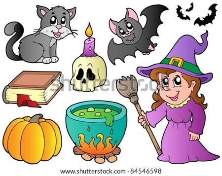 Halloween images collection - vector illustration.