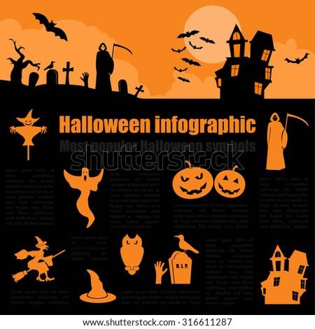 Halloween infographic design. Vector illustration