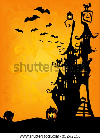 halloween invitation, flyer or background with spooky castle, cats and pumpkins - stock vector