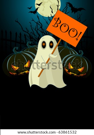Halloween  invitation  of Very cute ghost with ?Boo? sign