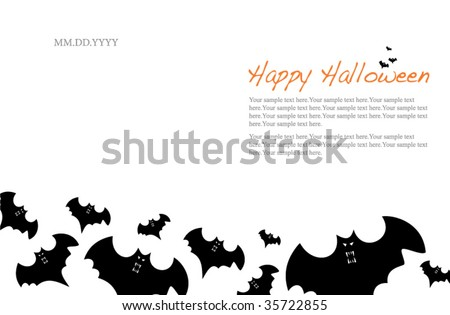 Halloween Invitation Or Background With Bats
