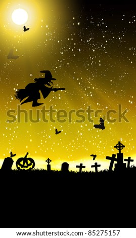 halloween invitation or background with spooky bats