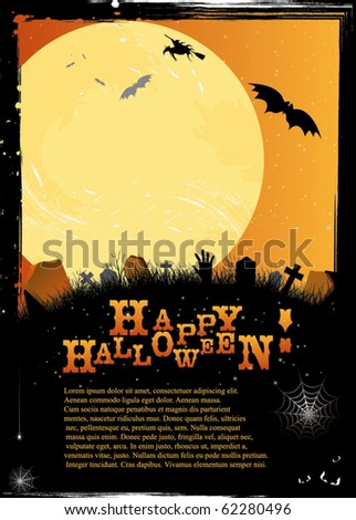 Halloween invitation or card in orange design depicting starry night, witch, bats, graves, crosses, web, zombie hand...