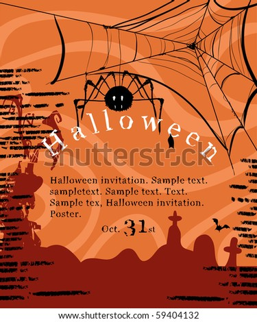 halloween invitation poster with spider