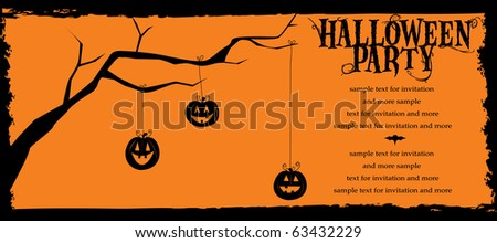 Halloween Invitation Pumpkins hanging from tree