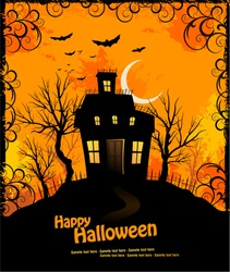 Halloween invitation with haunted house and creepy background