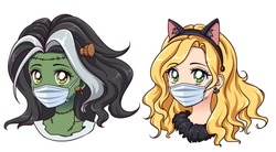 Halloween 2020 kawaii zombie and cat girls wearing medical mask to protect themselves from covid-19. Hand drawn vector avatars. Isolated on white background.