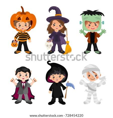 halloween kids character set