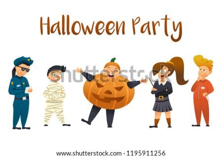 Halloween Kids Costume Party. Group of kids in halloween costume.